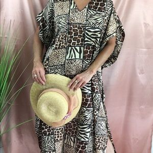 VINTAGE ETHNIC PRINT CAFTAN ROBE DRESS